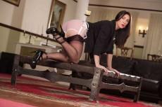 Miss Hybrid see through panties, stockings and suspenders.