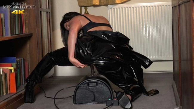 Mistress Miss Hybrid skin tight latex catsuit Sybian ride.