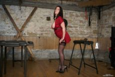 Miss Hybrid sexy stockings, long legs and high heels, tits out in the dungeon.